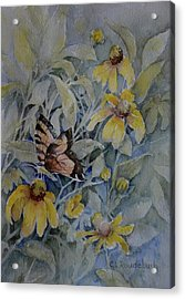 False Sunflower And Butterfly Acrylic Print