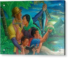 Family Bonding In Bicol Acrylic Print by Manuel Cadag