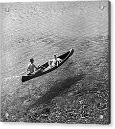 Family Canoe Excursion Acrylic Print by Underwood Archives