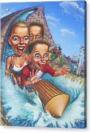 Family Enjoying Water Slide - Amusement Park Ride - Log Ride Acrylic Print by Walt Curlee