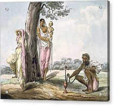 Family Man Smoking A Hookah And Girl Acrylic Print by Indian School
