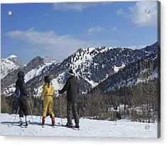Family On Ski Contemplating Mountains Acrylic Print by Sami Sarkis