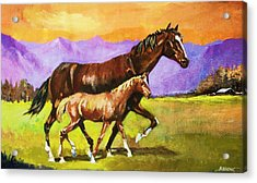 Acrylic Print featuring the painting Family Stroll by Al Brown