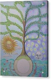 Family Tree Chart Sun Moon And Stars Acrylic Print by Alix Mordant
