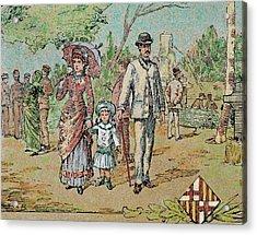 Family Walking Barcelona, Catalonia Acrylic Print by Prisma Archivo