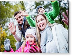Family Waving Hands Acrylic Print by Science Photo Library