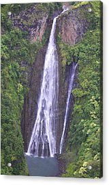 Famous Jurassic Park Waterfall Aerial Acrylic Print by Kai Hyde