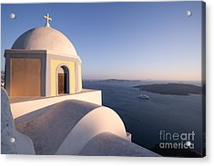 Famous Orthodox Church In Santorini Greece At Sunset Acrylic Print