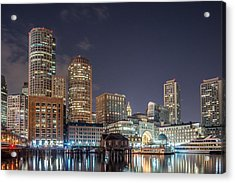 Fan Pier Boston Ma On A Hot July Night Acrylic Print