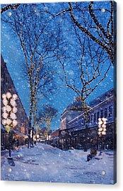 Faneuil Hall Winter Snow - Boston Acrylic Print by Joann Vitali