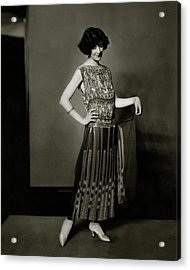 Fanny Brice Wearing A Dress Acrylic Print by Edward Steichen