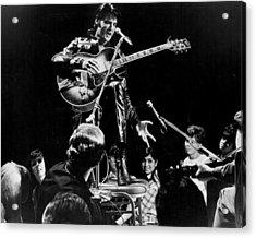 Fans Surround Elvis Presley Acrylic Print by Retro Images Archive