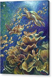 Fantastic Journey - Turtles Acrylic Print by Nancy Tilles