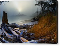 Acrylic Print featuring the photograph Fantasy Art-sea Fog Island Lighthouse Night-twisted Roots by Eszra Tanner