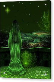 Fantasy Art - Wishing Upon A Star In A Green Night  By Rgiada  Acrylic Print
