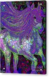 Fantasy Horse Purple Mosaic Acrylic Print by Saundra Myles