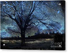 Fantasy Blue Nature Fairy Lights Photography - Blue Starry Surreal Gothic Fantasy Trees And Stars Acrylic Print