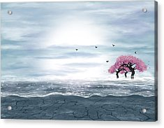 Fantasy Landscape In Blue And Gray Colors Acrylic Print
