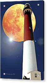 Fantasy Lighthouse And Full Moon Poster Image Acrylic Print by A Gurmankin