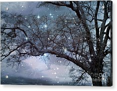 Fantasy Nature Blue Starry Surreal Gothic Fantasy Blue Trees Nature Starry Night Acrylic Print