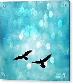 Fantasy Surreal Ravens Flying - Aquamarine Blue Bokeh Sparkling Lights Acrylic Print