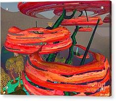 Acrylic Print featuring the digital art Fantasy Trees by Susanne Baumann