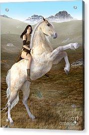 Fantasy Woman On Rearing Horse Acrylic Print