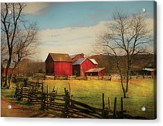 Farm - Barn - Just Up The Path Acrylic Print by Mike Savad