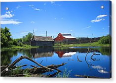 Farm Buildings And Pond. Acrylic Print by Jim Sauchyn
