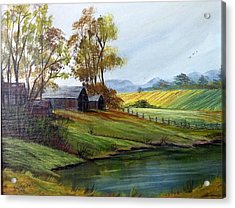 Acrylic Print featuring the painting Farm by Dorothy Maier