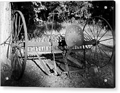 Farm Equipment Bw Acrylic Print by Mary Bedy