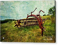 Farm Equipment In A Field Acrylic Print by Amy Cicconi