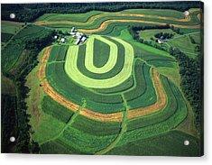 Farm Greens And Hillside Contour Plowing Acrylic Print by Blair Seitz