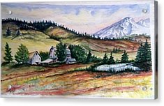 Acrylic Print featuring the painting Farm In A Valley by Richard Benson