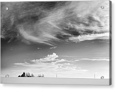 Farm In The Distance In A Snowy Field Acrylic Print by Patrick LaRoque