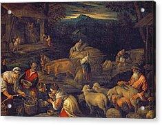 Farm Interior Or Shearing Sheep Oil On Canvas Acrylic Print