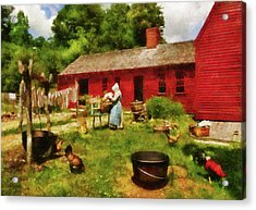 Farm - Laundry - Old School Laundry Acrylic Print by Mike Savad