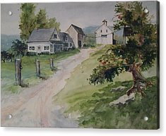 Acrylic Print featuring the painting Farm On Orchard Hill by Joy Nichols