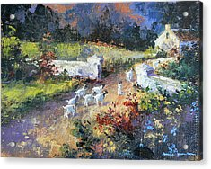 Farm Scene With Goats I Acrylic Print