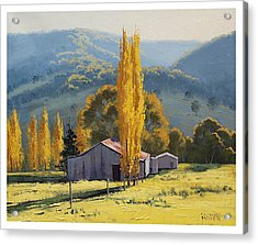 Farm Sheds Painting Acrylic Print by Graham Gercken