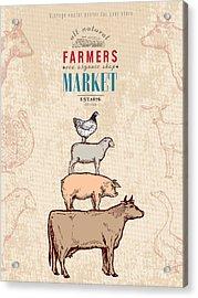 Farm Shop Vintage Poster Retro Butcher Acrylic Print