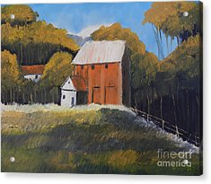 Farm With Red Barn Acrylic Print