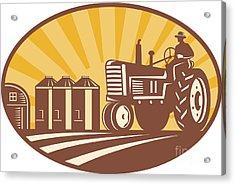 Farmer Driving Vintage Tractor Retro Woodcut Acrylic Print by Aloysius Patrimonio