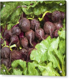 Farmers Market Beets And Greens Square Acrylic Print by Carol Leigh