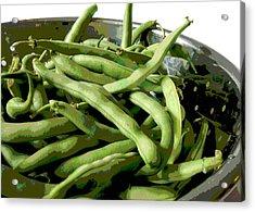 Farmers Market Green Beans Acrylic Print by Ann Powell