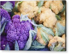 Farmers Market Purple Cauliflower Acrylic Print by Carol Leigh