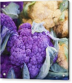 Farmers Market Purple Cauliflower Square Acrylic Print by Carol Leigh