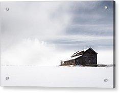 Farmhouse - A Snowy Winter Landscape Acrylic Print by Gary Heller