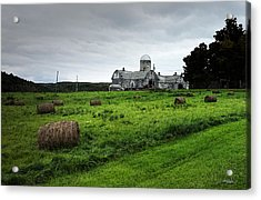Farmhouse Bails Of Hay Acrylic Print by Michael Spano