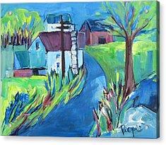 Farmhouse In Spring Again Acrylic Print by Betty Pieper